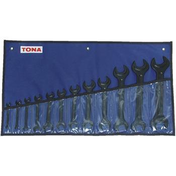 Sada klíčů plochých oboustranných 12-dílná, 5,5-32mm, černé, v pouzdře Tona Expert E114040