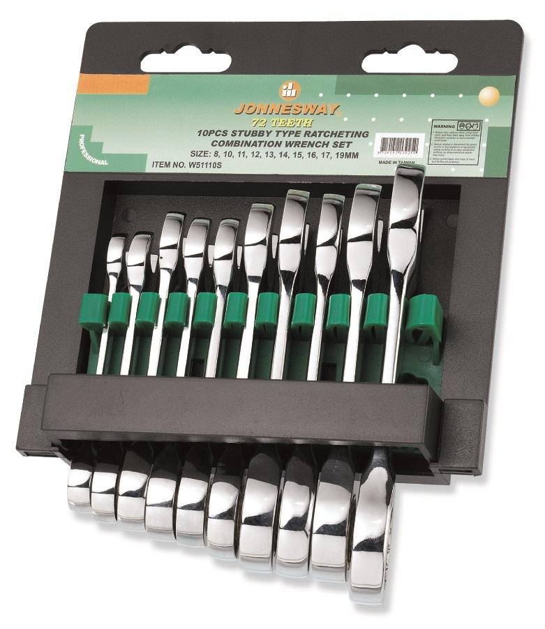 Sada krátkých, očkoplochých klíčů s ráčnou v pořadníku, 10 ks, 8-19 mm - JONNESWAY W51110S