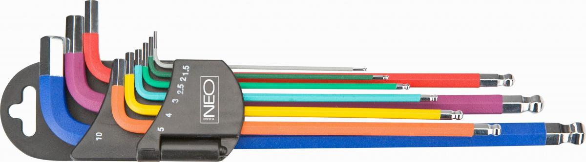 Sada metrických zástrčných klíčů IMBUS 1,5-10mm 9ks kulička color NEO tools