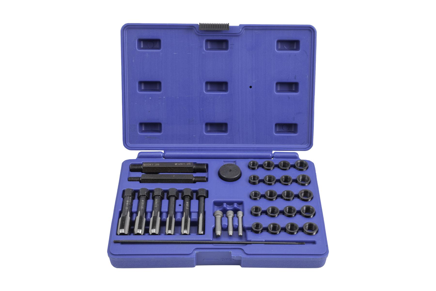Sada na opravu závitů žhavicích svíček  M8x1, M10x1, M10x1.25, M12x1.25, 33 kusů - QS14140