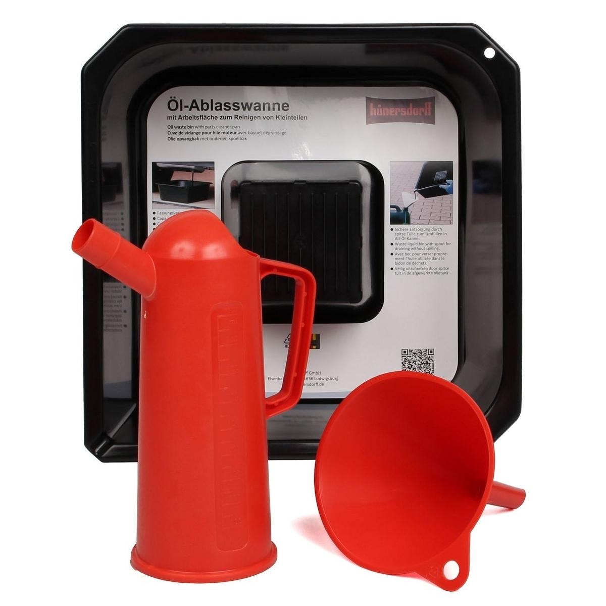 Sada na vypouštění a plnění motorového oleje, vana, trychtýř a odměrka, plast, 3 díly