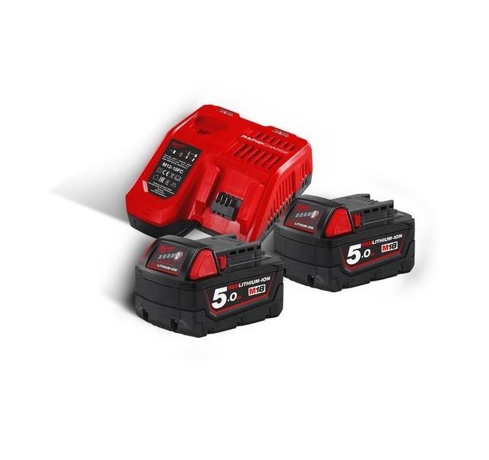 Sada nabíječky a 2 baterií 18V 5,0 Ah Li-Ion, pro aku nářadí - Milwaukee M18 NRG-502