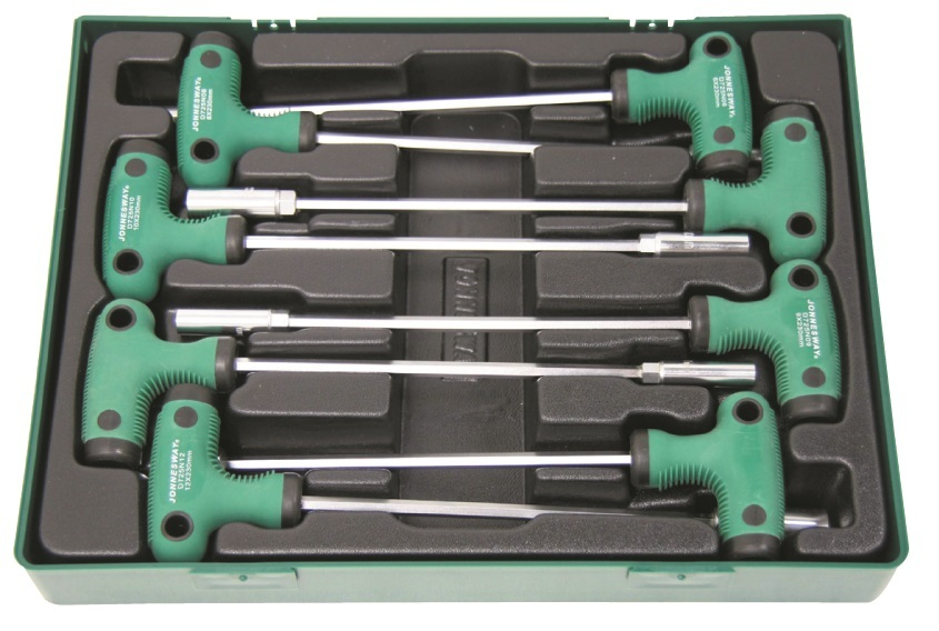 Sada nástrčných klíčů s T rukojetí, 6 - 13 mm, 8 kusů v kazetě - JONNESWAY D725N08SP