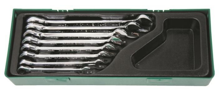 Sada očkoplochých klíčů s ráčnou v kazetě, 8 kusů, 8-19 mm - JONNESWAY W45308SP