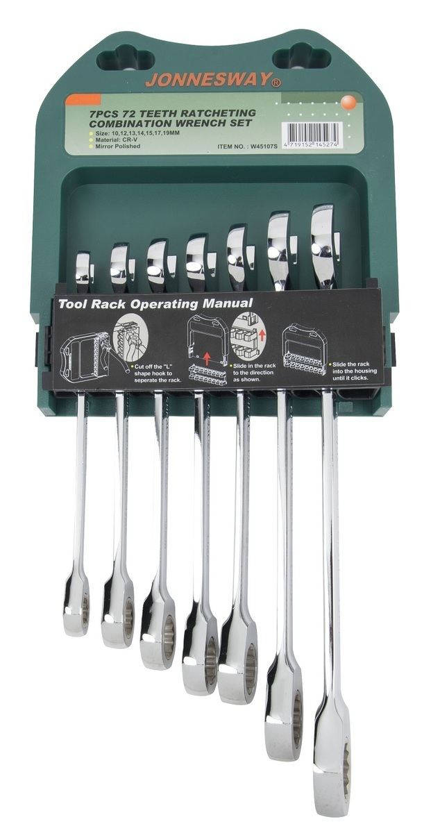 Sada očkoplochých klíčů s ráčnou v pořadníku, 7 ks, 10-19 mm - JONNESWAY W45107S