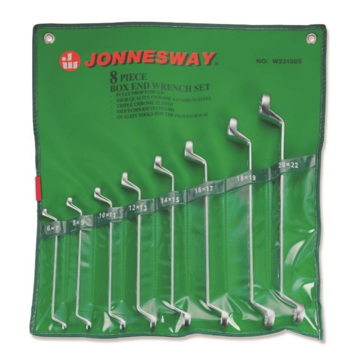 Sada očkových vyhnutých klíčů, 6x7 - 20x22 mm, 8 kusů v obalu - JONNESWAY W23108S