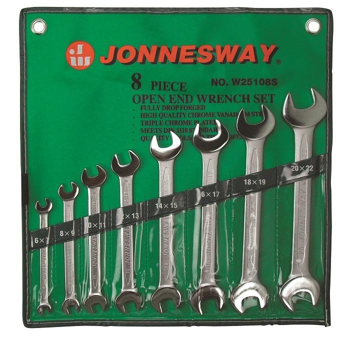 Sada plochých klíčů, 6x7 - 20x22 mm, 8 kusů - JONNESWAY W25108S