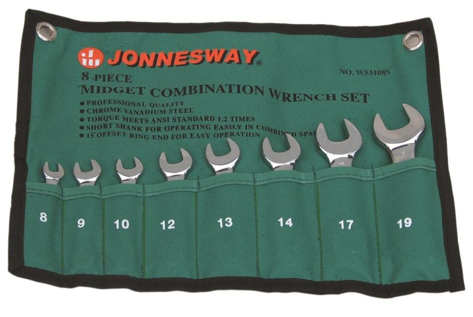 Sada očkoplochých klíčů, krátkých, 8 - 19 mm, 8 kusů - JONNESWAY W53108S
