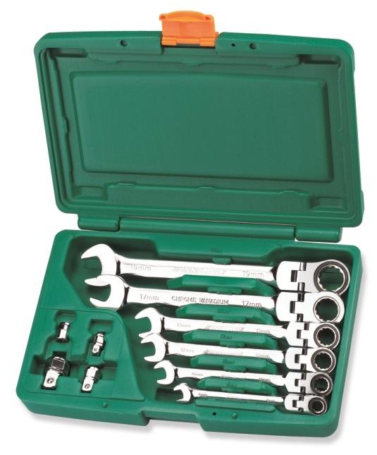 Sada ráčnových očkoplochých klíčů s kloubem a adaptéry, 8-19 mm - JONNESWAY W66110S
