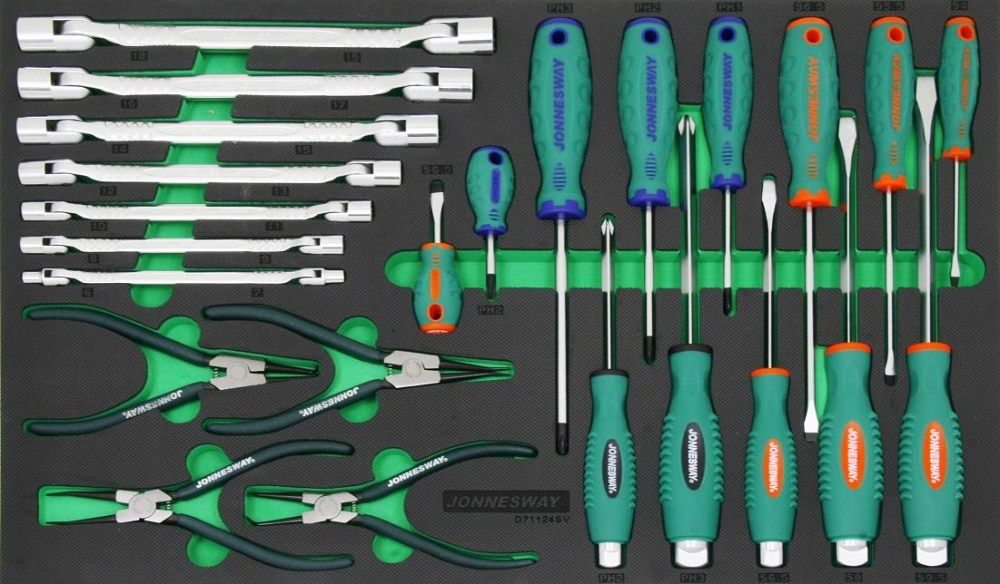 Modul - sada ručního nářadí - šroubováky, kleště a klíče, 24 ks - JONNESWAY D71124SV