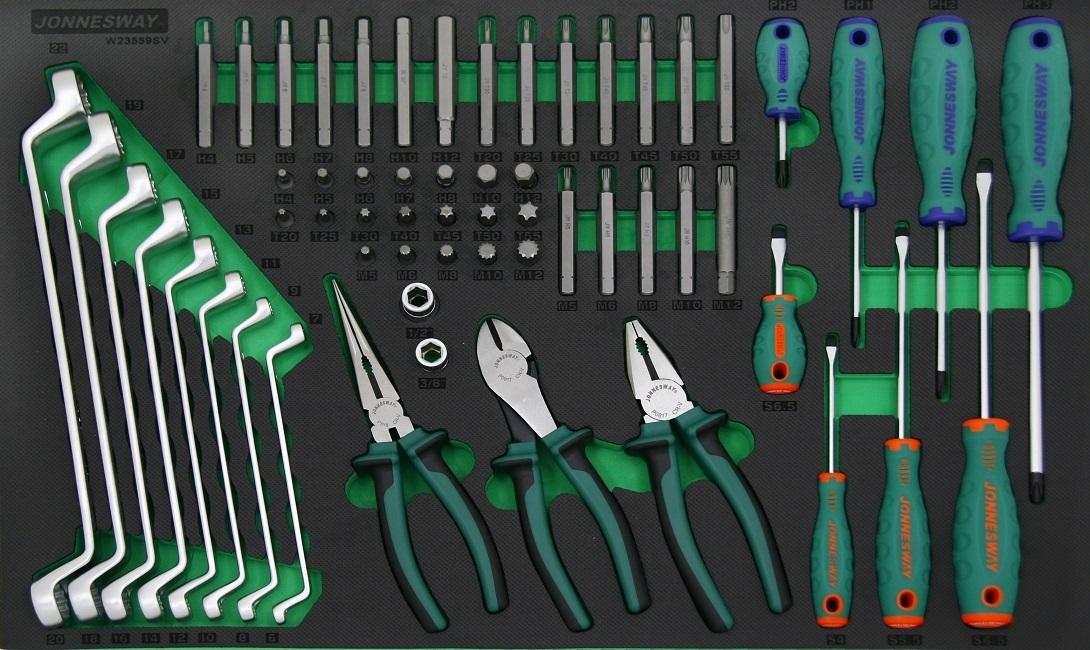 Modul - sada ručního nářadí - šroubováky, kleště, klíče, bity, 59 ks - JONNESWAY W23559SV