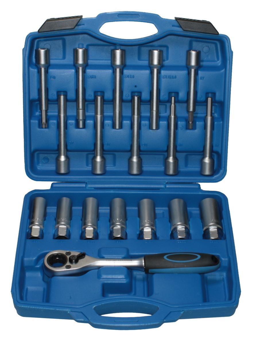 Sada na servis tlumičů s průchozí ráčnou, speciální hlavice na tlumiče, 18 kusů - QS80418