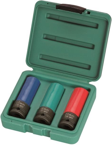 "Sada úderových hlavic 1/2"", magnet, krytka na ALU, 17-21mm - JONNESWAY S18A4103MS"