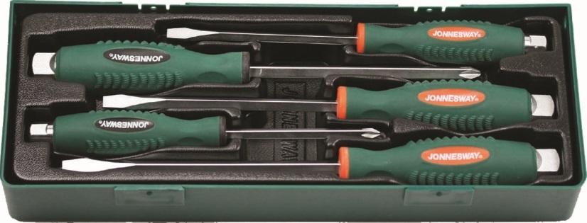 Sada úderových šroubováků, křížových a plochých, 5 kusů v kazetě - JONNESWAY D70105SP