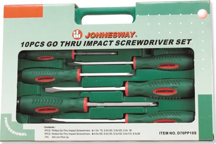 Sada úderových šroubováků, ploché a křížové, 10 kusů - JONNESWAY D70PP10S