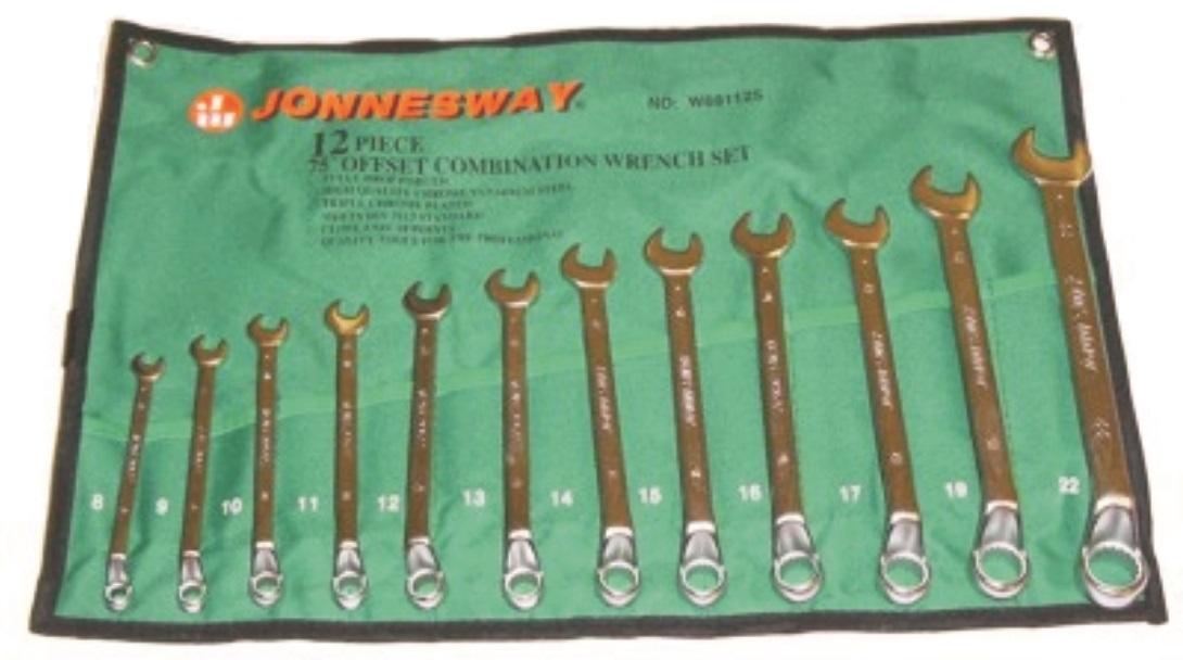 Sada vyhnutých očkoplochých klíčů, 8 - 22 mm, 12 kusů - JONNESWAY W69112S
