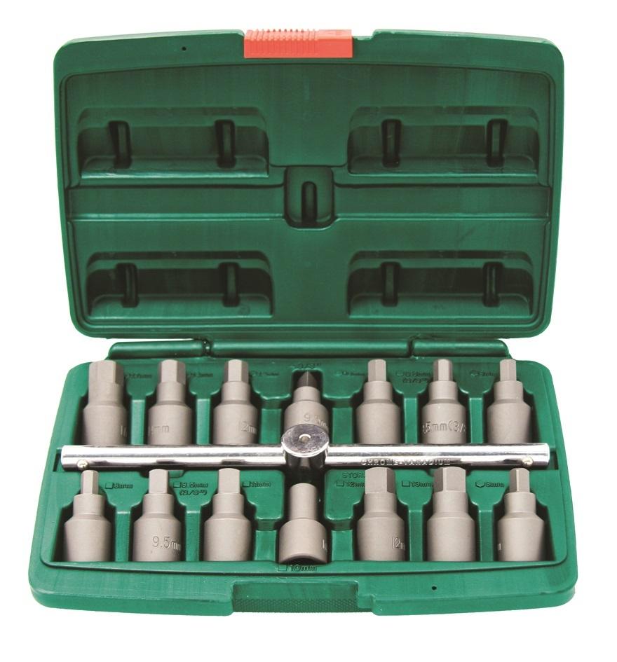 """Sada zástrčných klíčů na výpustné šrouby oleje, 3/8"""", 15 kusů - JONNESWAY AI030036A"""