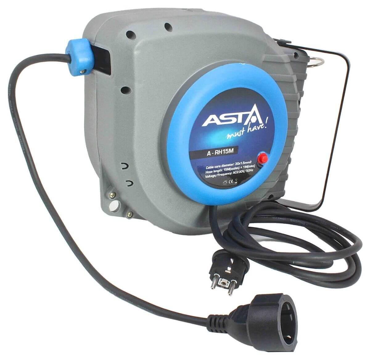 Samonavíjecí prodlužovací kabel s bubnem, 230V, délka 15 metrů - ASTA