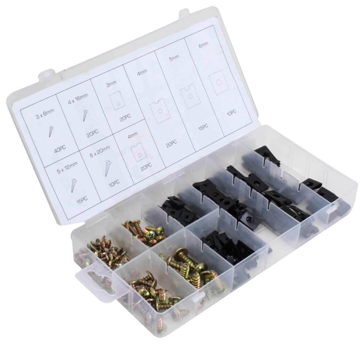 Samořezné šrouby a pružné matice pro karosérie, různé rozměry, sada 170 ks - ASTA