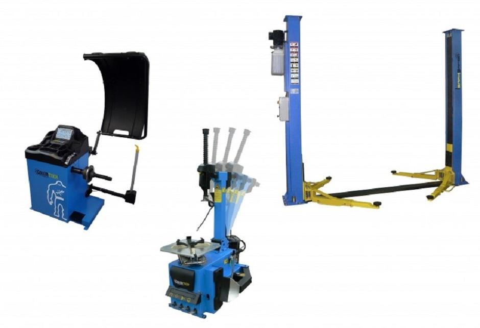 Set 2 PROFI: Zouvačka TC-02, vyvažovačka TW-02 3D, dvousloupový zvedák 4 t - Golemtech