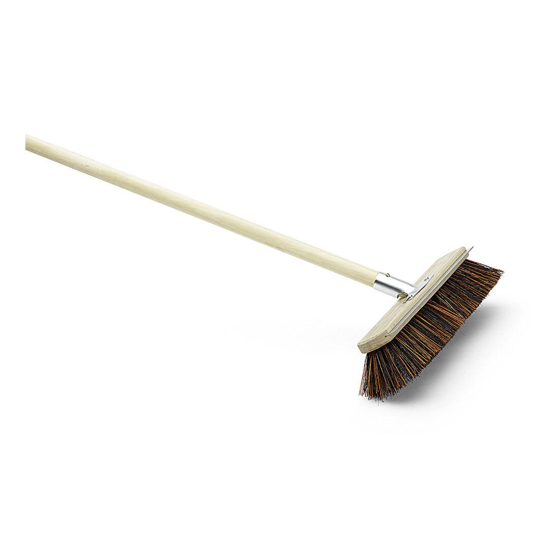 Koště silniční - smeták, šířka 40 cm, násada 140 cm, ocelová škrabka, dřevěný rám