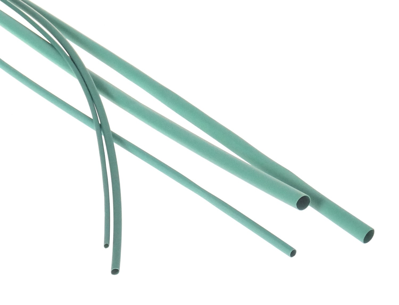 Bužírky - hadičky smršťovací, různé rozměry, délka 1 m, polyetylen - zelená