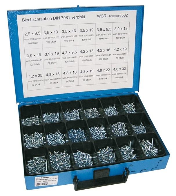 Šrouby do plechu křížové 2.9x9.5-4.8x32 mm, s půlkulatou hlavou DIN 7981,1450 ks v kufru