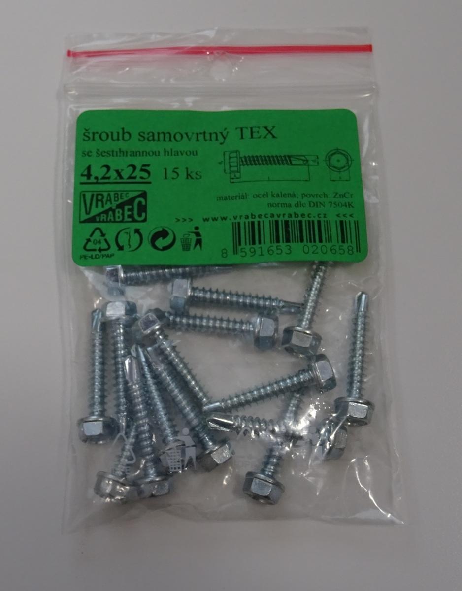 Šrouby samovývrtné TEX DIN 7504K, 6hranné, pozinkované, různé rozměry