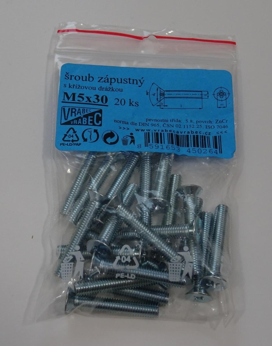 Šrouby zápustné, křížové DIN 965, pozinkované, různé rozměry