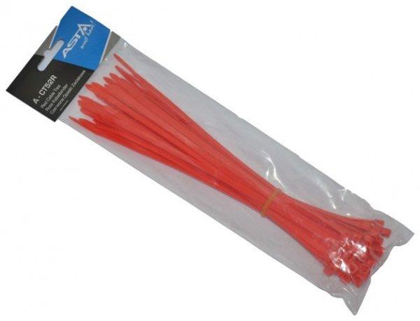 Stahovací pásky 5 x 250 mm, 50 kusů, červená barva - ASTA