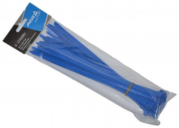 Stahovací pásky 5 x 250 mm, 50 kusů, modrá barva - ASTA