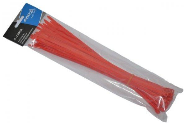 Stahovací pásky 5 x 300 mm, 50 kusů, červená barva - ASTA