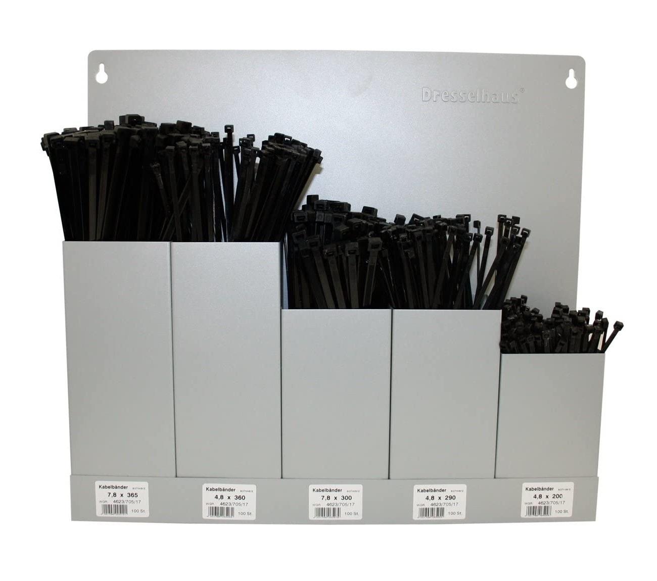 Stahovací pásky 4,8x200-7,8x365 mm, sada 500 ks v držáku