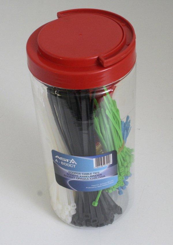 Stahovací pásky barevné, různé délky, 600 ks v dóze - ASTA