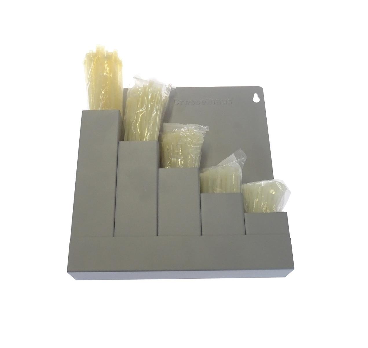 Stahovací pásky 2,5x100 - 4,8x360 mm, sada 500 ks v držáku