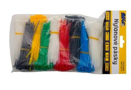 Stahovací pásky sada, 2,5x100mm barevné/900ks