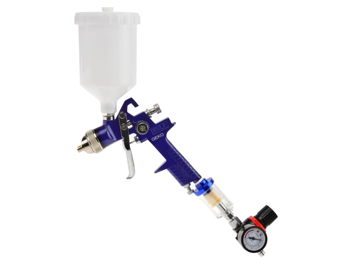 Stříkací pistole HVLP, tryska 1.4 mm, objem 600 ml, regulátor tlaku a odlučovač vody