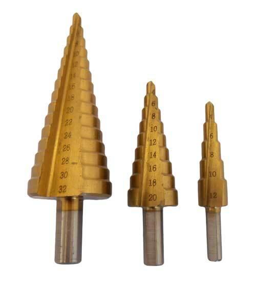 Stupňovité vrtáky 4-12 mm, 4-20 mm, 4-32 mm, sada 3 kusů