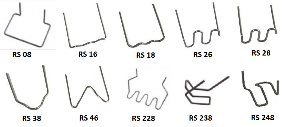 Svářecí sponky RS na plasty, různé tvary a tloušťky, balení 100 kusů