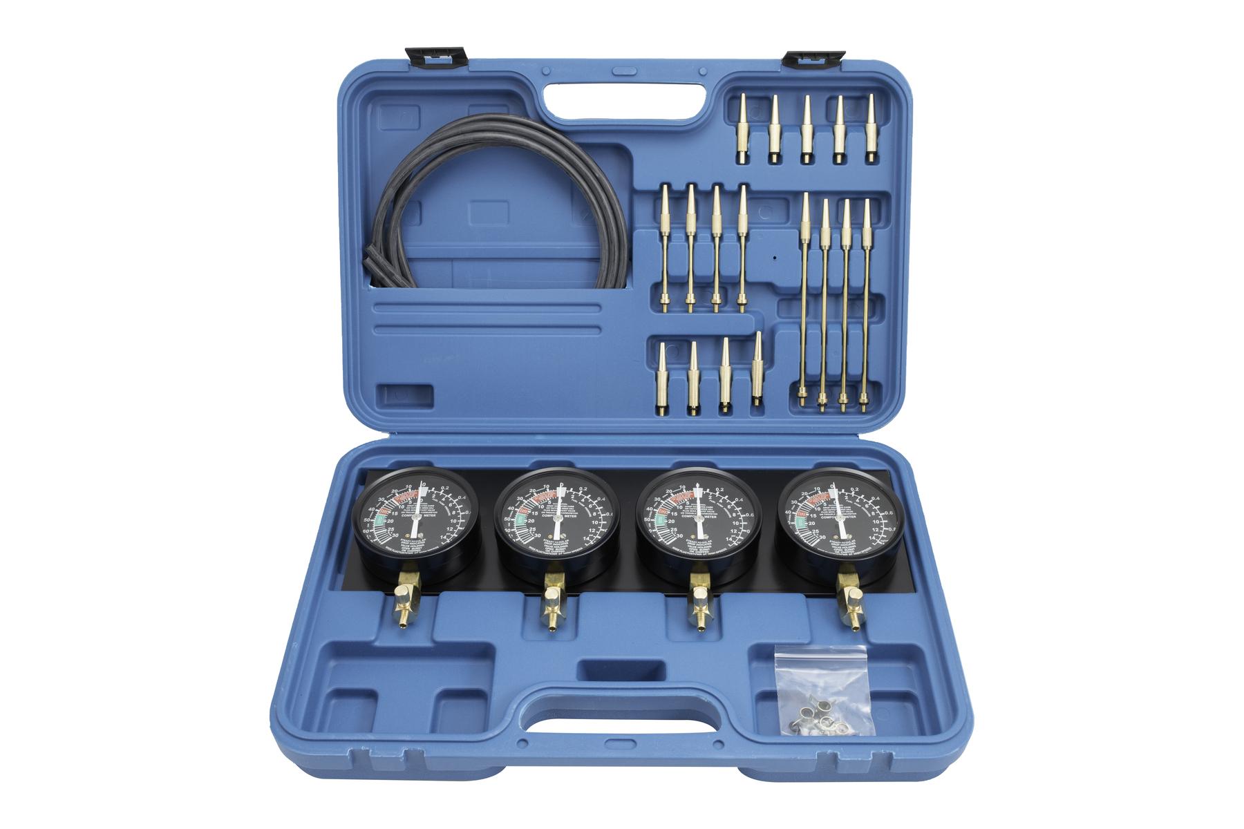 Tester na synchronizaci karburátorů, vakuometry + redukce - QUATROS QS30504