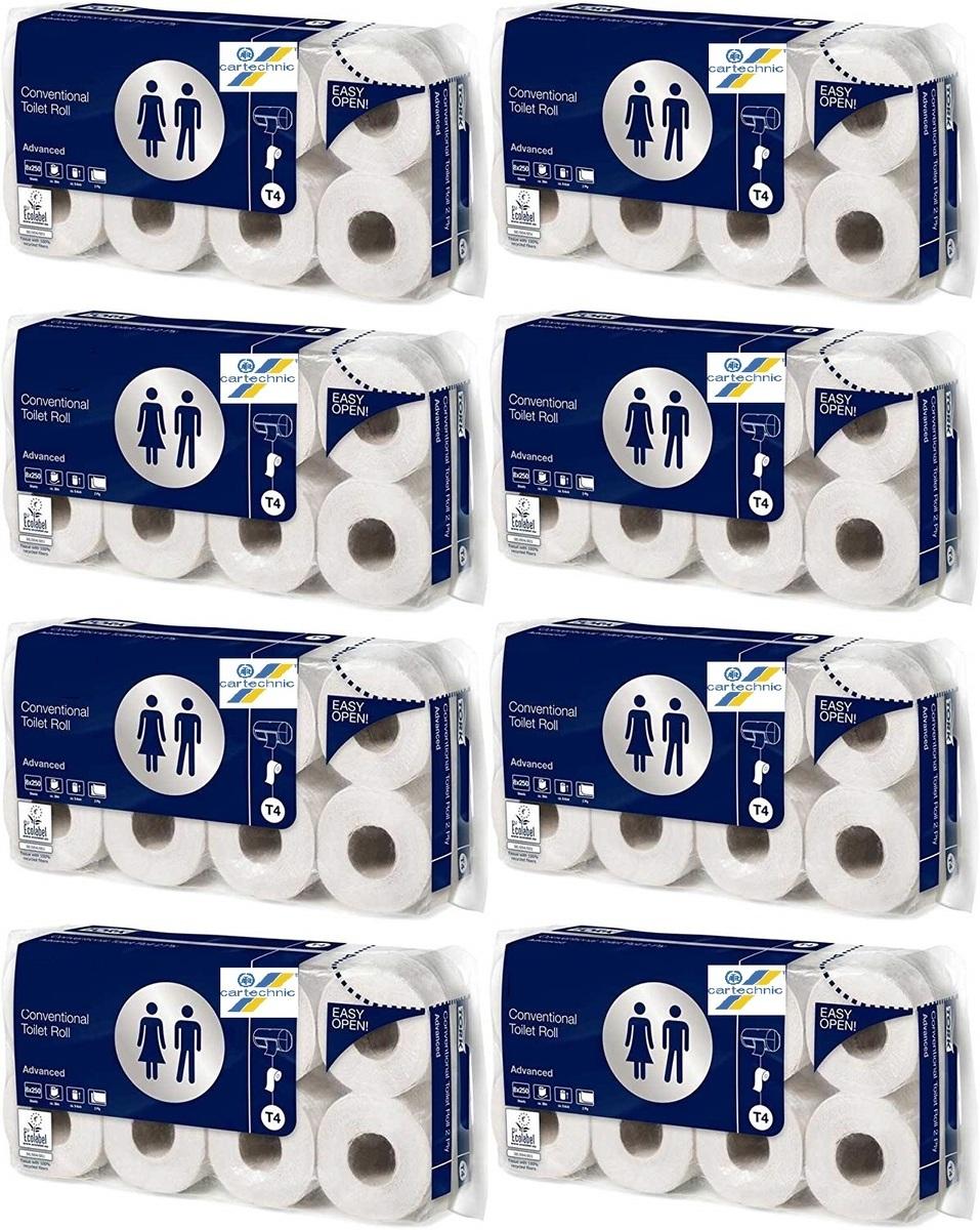 Toaletní papír 2vrstvý, 250 útržků, balení 8x8 rolí - Cartechnic