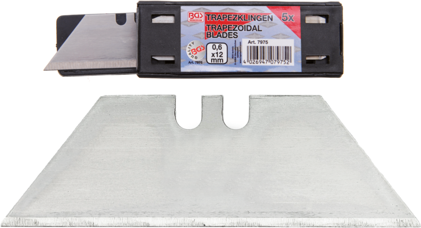 Trapézové čepele - břity pro vysouvací nůž, 0,6 x 12 mm, 5 kusů - BGS 7975