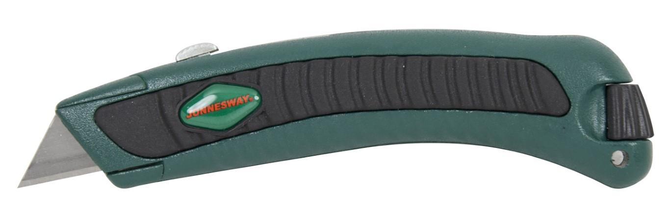 Vysouvací nůž trapézový, protiskluzový potah, sada 2 náhradních čepelí - JONNESWAY MK2040