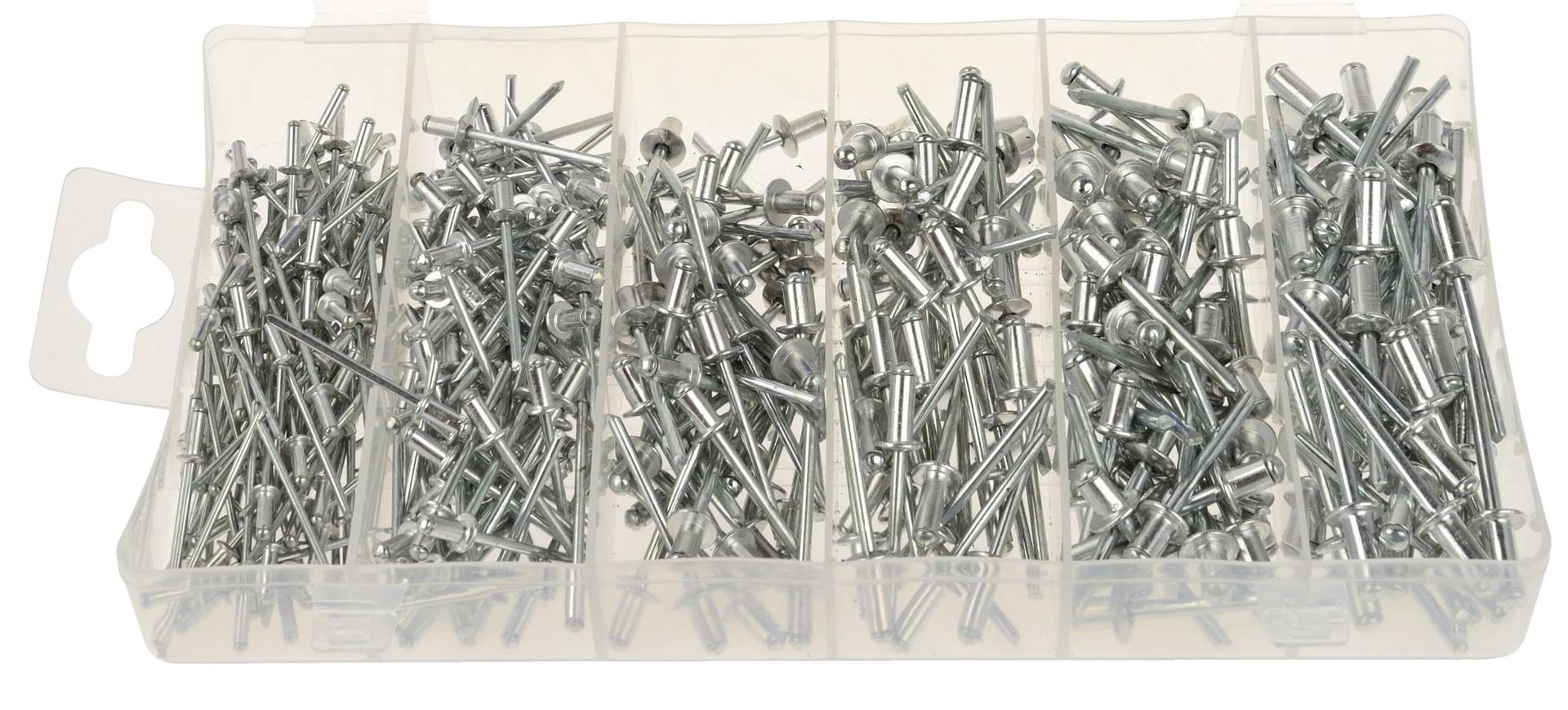 Trhací nýty hliníkové, 2.4 x 6 - 4.8 x 10 mm, plochá hlava, sada 400 kusů