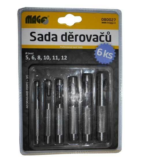 Tyčové výsečníky - děrovače, průměr 5-12 mm, sada 6 ks