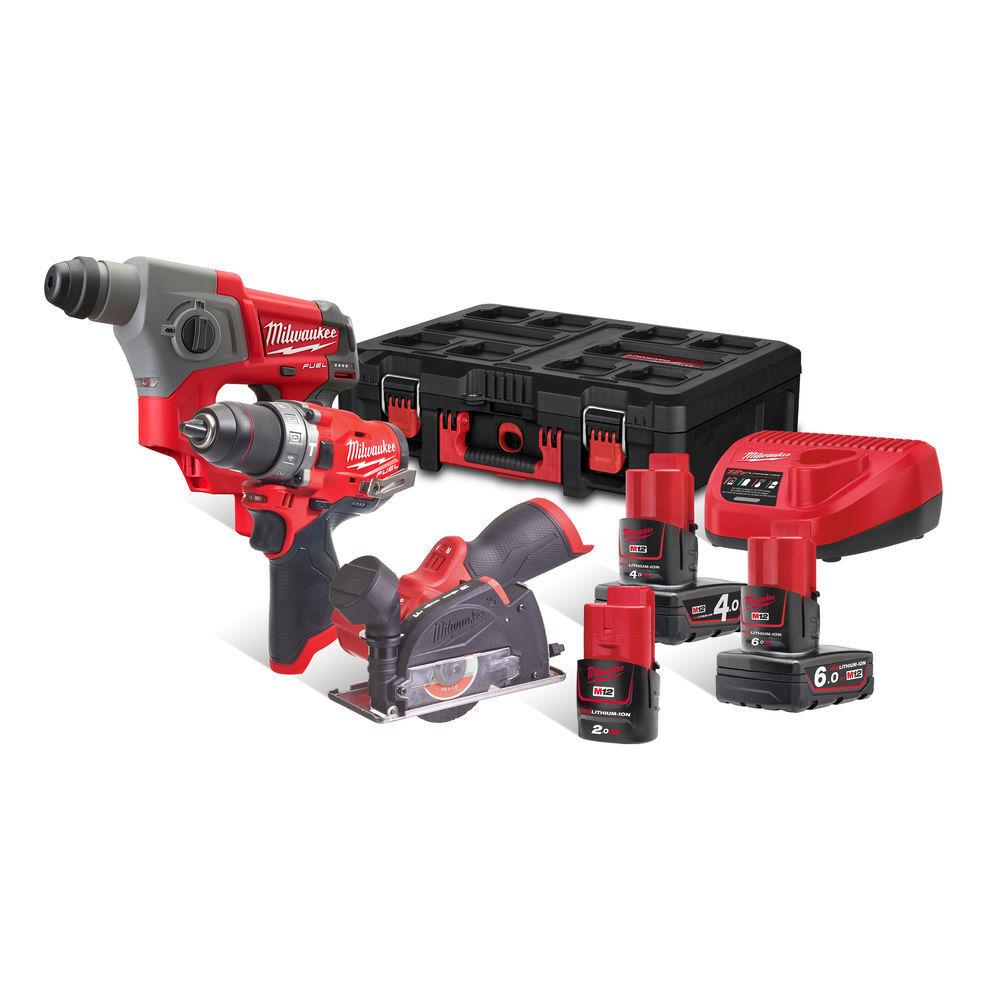 Sada aku nářadí 12V: vrtačka, pila, kladivo, baterie, nabíječka Milwaukee M12 FPP3R-6423P
