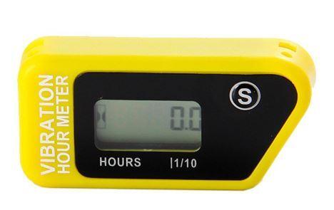 Vibrační měřič motohodin, žlutý