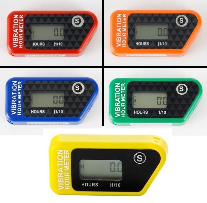Vibrační měřiče motohodin, bezdrátové, různé barvy