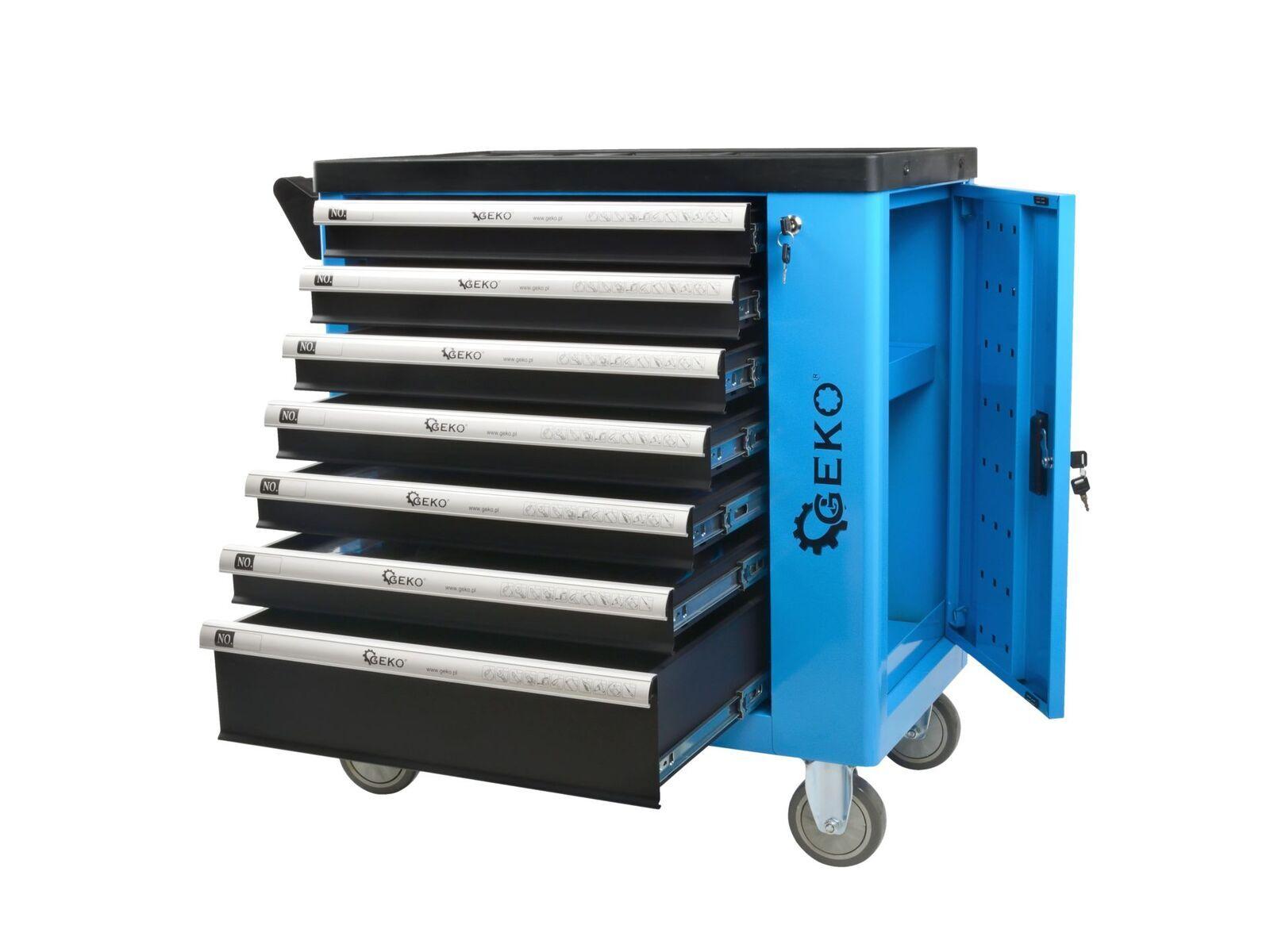 Dílenský montážní vozík vybavený, 243 ks nářadí, 7 zásuvek a skříňka - GEKO G10833