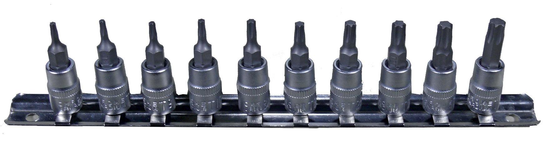 """Zástrčné hlavice TORX 1/4"""", rozměry T7 - T40, sada 10 kusů na kolejnici - Condor"""